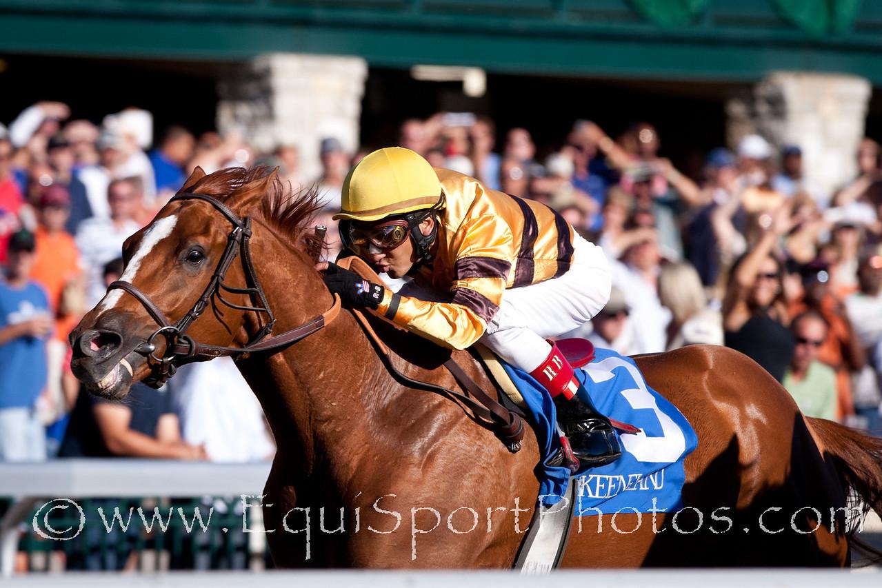 Wise Dan (Wiseman's Ferry), Rafael Bejarano up, wins The Phoenix Stakes (GIII) at Keeneland 10/8/10mw.