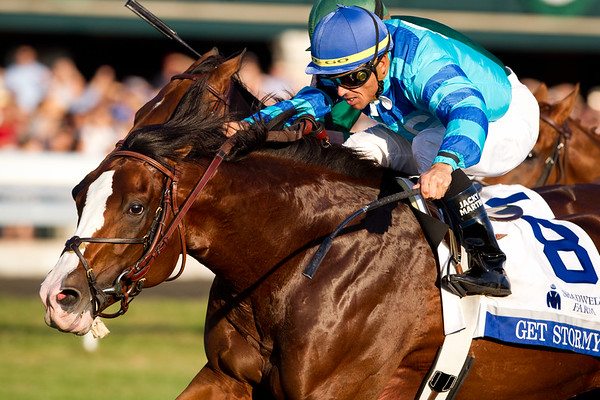 Get Stormy (Stormy Atlantic), Garrett Gomez up, runs second to Gio Ponti in the Shadwell Turf Mile at Keeneland 10.08.2011