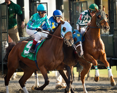 Bergerac (#5)  and Seruni (#1) putting on a squeeze play at the start of an allowance race at Keeneland on 10.29.2011