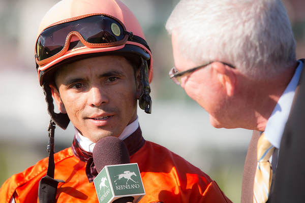 Jose Lezcano being interviewed after his win on Tapitsfly in The First Lady Stakes.
