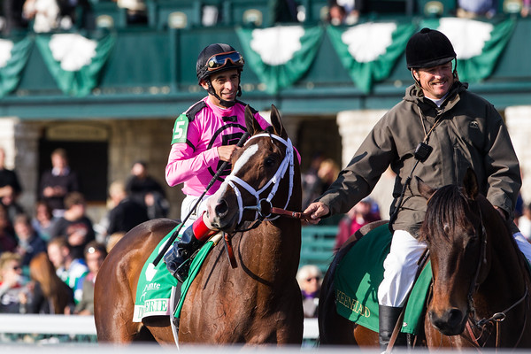 In Lingerie (Empire Maker) wins the Juddmonte Spinster (G1) at Keeneland on 10.7.2012. Johnny Velazquez up, Todd Pletcher trainer and Gary Barber and Eclipse Thoroughbred Partners owners.
