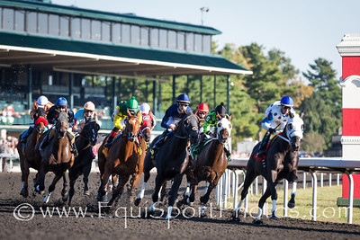 The field comes around the clubhouse turn at Keeneland 10.09.13.