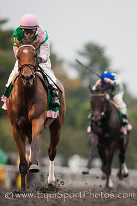 Emollient (Empire Maker) wins the Juddmonte Spinster (G1) at Keeneland on 10.6.2013. Mike Smith up, Bill Mott trainer, Juddmonte Farm owner.