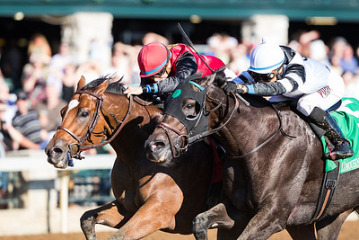 AP Indian (outside, Indian Charlie) wins The Stoll Keenon Ogden Phoenix (G2) at Keeneland on 10.7.2016. Joe Bravo up,  Arnaud Delacour trainer, Green Lantern Stables owner.