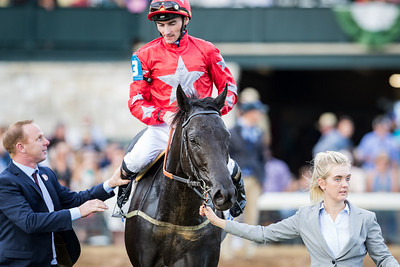 """Suedois (Le Havre) wins The Shadwell Turf Mile (G1 """"Win and You're In"""") at Keeneland on 10.07.2017. Danny Tudhope up, David O'Meara trainer, George Turner and Clipper Logistics owners."""