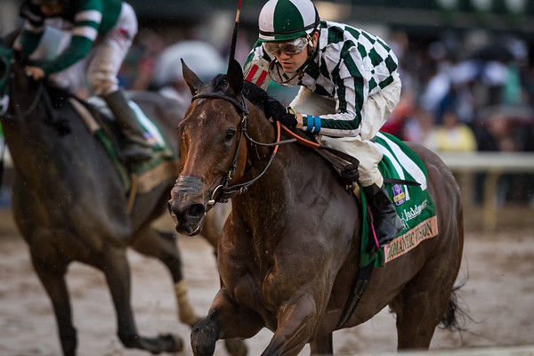 """Romantic Vision (Lemon Drop Kid) wins the Juddmonte Spinster (G1 """"Win and You're In"""") at Keeneland on 10.08.217. Brian Hernandez up, George Arnold trainer, G. Watts Humphrey, Jr. owner."""