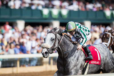 Improv (Distorted Humor), James Graham up, wins an AOC at Keeneland 10.06.17. G. Watts Humphrey ownner, George Arnold trainer.