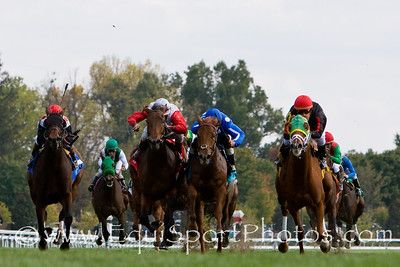 Cure For Sale, (Not For Sale, green blinkers), Miguel Mena up, wins an Allowance at Keeneland 10.17.2008mw ( Horse Racing Photos by EquiSport Photos )
