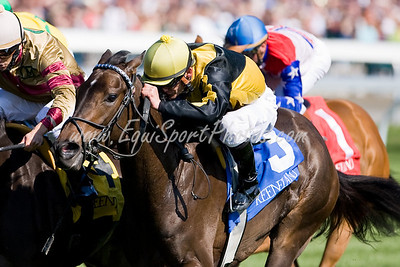 Afternoon Stroll (Yellow cap, Stroll), Jamie Theriot up, wins the Appalachian Stakes at  Keeneland Race Course, Lexington, KY. 4.16.2009 (EquiSport Photos)