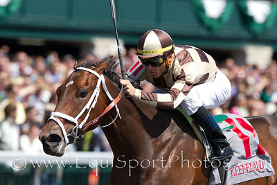 Embur's Song (Unbridled's Song), Garrett Gomez up, wins a Maiden at Keeneland 04.17.2010
