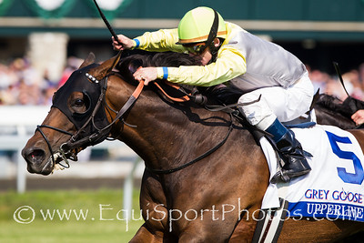 Upperline (Maria's Mon) wins The Grey Goose Bewitch Stakes (G3) at Keeneland on 4.26.2012.  James Graham up, Michael Stidham trainer, Stone Farm, John Adger, Oak Crest Farm and Michael Stidham owners.