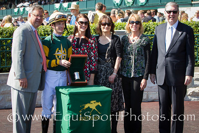 Julien Leparoux wins the jockey title for the Spring Keeneland meet.  He is pictured with his fiancee Shea Mitchell, Shea's mother and Julien's mother.