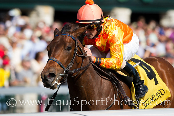 Leinan (Ready's Image), Robby Albarado up, wins a Maiden at Keeneland 4.27.2012. Trainer: Josie Carroll, Owner: James and Alice Sapara.