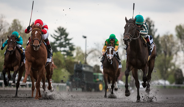 Ice Cream Silence (right, Street Sense) holds off Sisterhood to win The Doubledogdare Stakes (G3) at Keeneland on 4.19.2013.  Rosie Napravnik up, Rusty Arnold trainer, G. Watts Humphrey, Jr. owner.