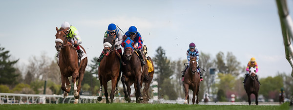 Unbelievable Dream (outside, Kitalpha) wins the Appalachian Stakes (G3) at Keeneland on 4.18.2013. Joel Rosario up for his 5th win of the day, Barclay Tagg trainer, Sure Thing Stables owner (Michael McGuire).