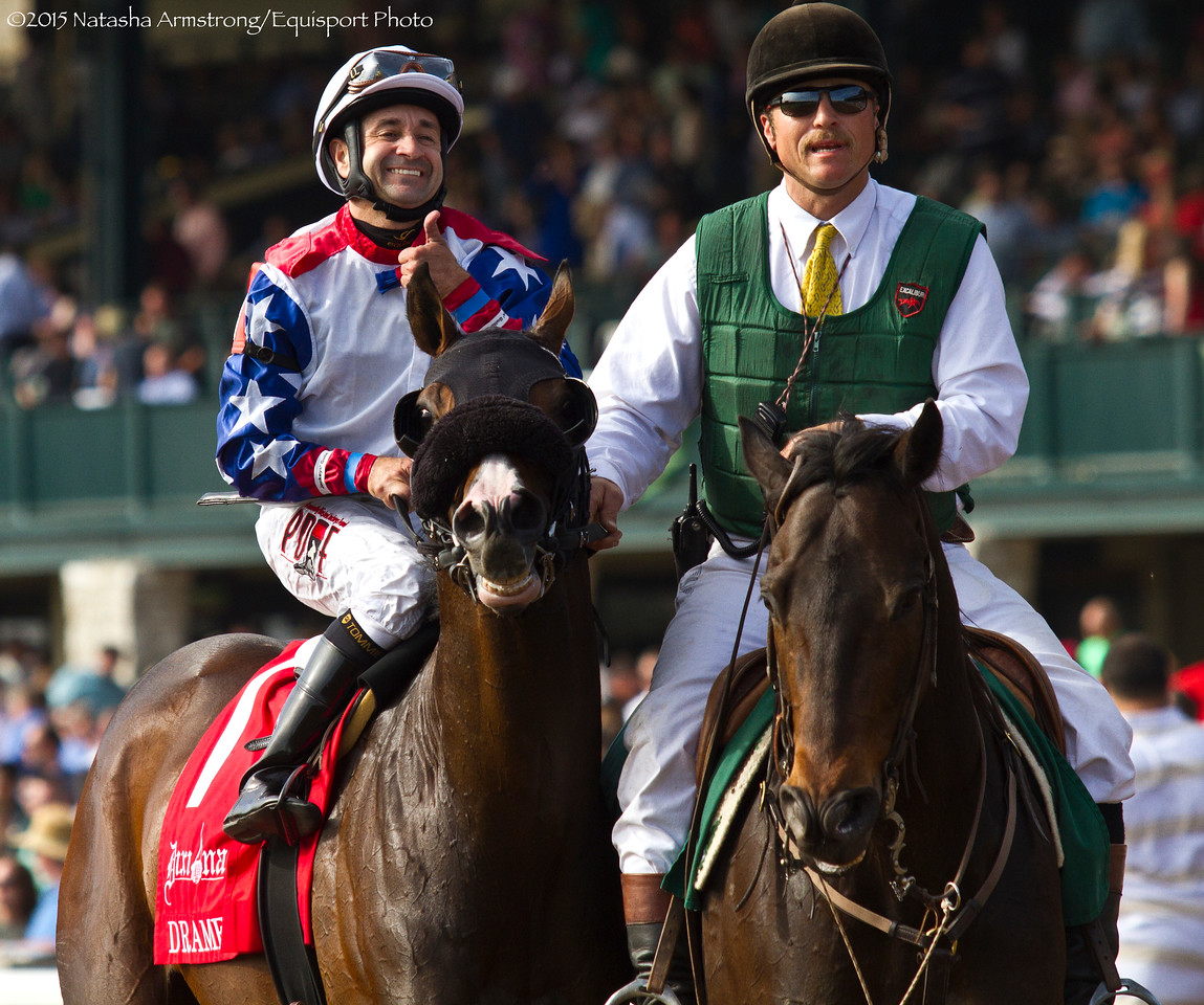 Dramedy (Distorted Humor) wins the Elkhorn Stakes (G2) at Keeneland on 4.18.2015. Joe Bravo up, Gerald Aschinger trainer, John James Revocable Trust owner.