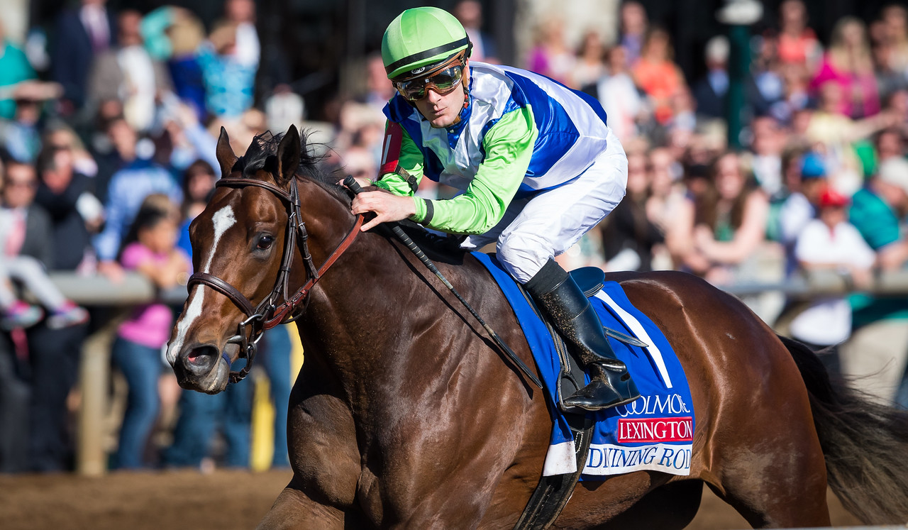 Divining Rod (Tapit), Julien Leparoux up, wins the G3 Lexington Stakes at Keeneland 4.11.15. Trainer: Arnaud Delacour, Owner: Leal Stables.