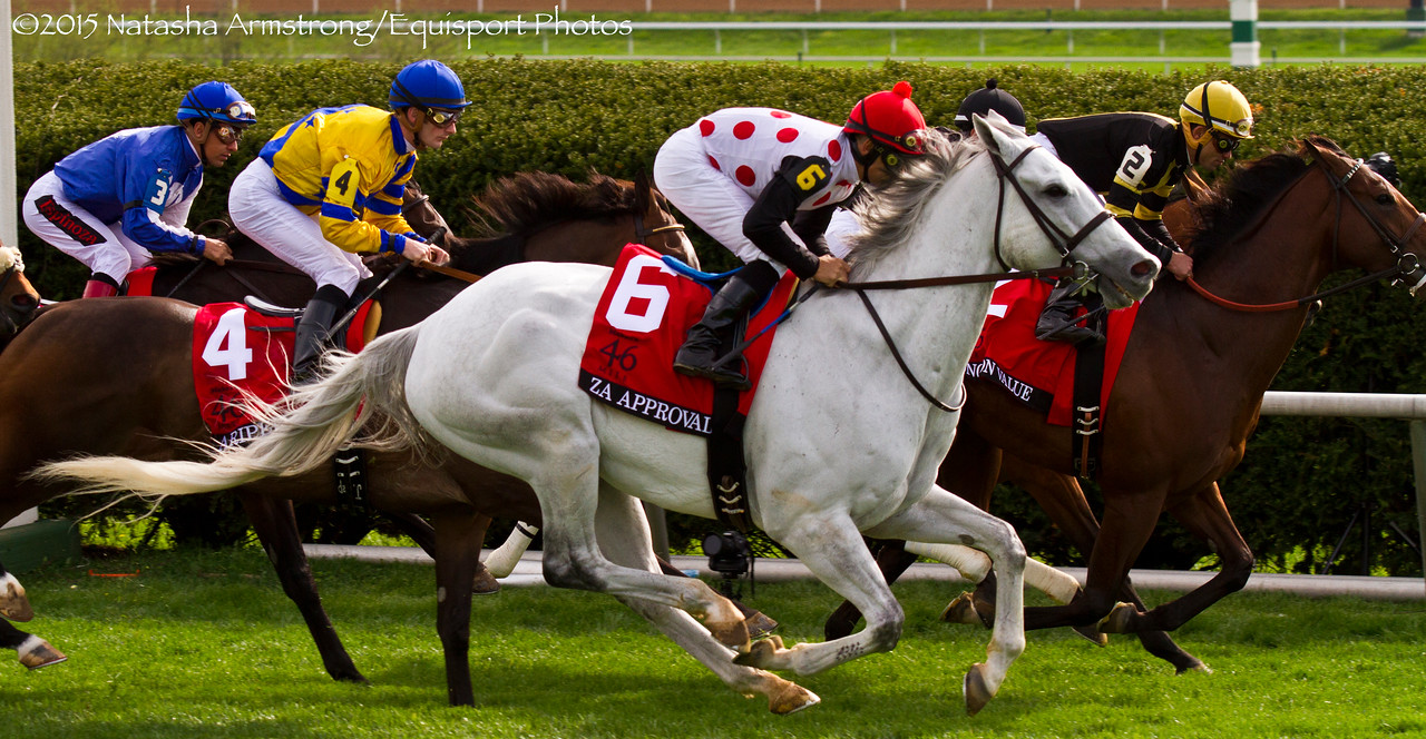 Za Approval (Ghostzapper) Mike Smith up, finishes fifth in the Gr.1 Makers 46 mile at Keeneland on 4.9.15  Trainer:  Mark E. Casse  Owner: Live Oak Plantation