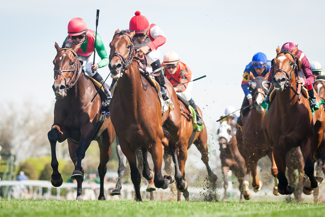 Animal Kracker (Leroidesanimaux) outside with green and red silks, Jose Lexcano up, was awarded the win (when #2 Lookaroundcorners was taken down for interferance) in an MSW at Keeneland 4.18.15. Trainer: Tom Bush, Owner: Team Valor.