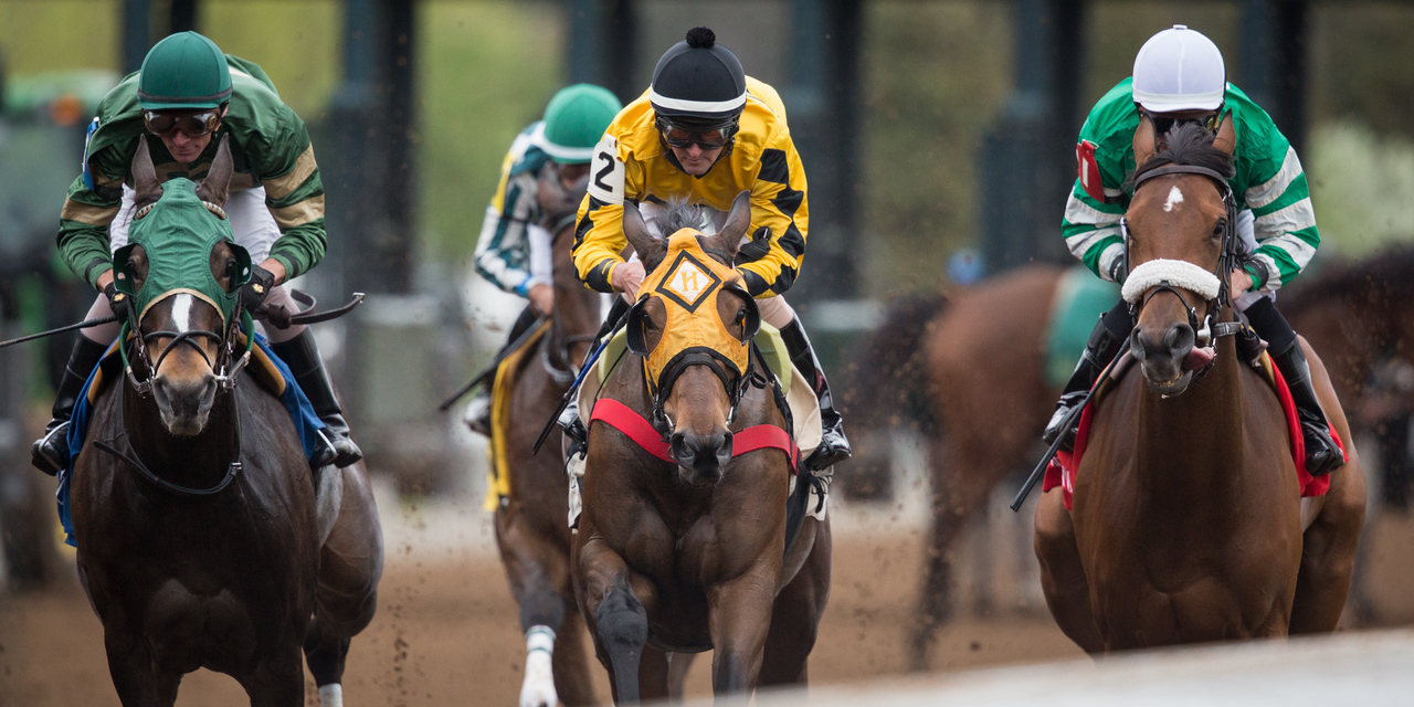 The start of an allowance race at Keeneland on 4.15.2015. Robby Albarado on Keri This Day Lori is in the center (yellow silks).