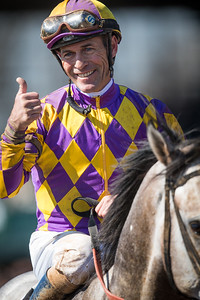 Gary Stevens gives a thumbs up after winning The Commonwealth Stakes (G3) on Kobe's Back (Flatter) at Keeneland on 4.4.2015. Peter Eurton trainer, CRK Stable owner.