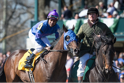 Something Extra (Indian Charlie) wins the Shakertown Stakes (G3) at Keeneland on 4.4.2015. Shaun Bridgmohan up, Gail Cox trainer, John Menary and Gail Cox owners.