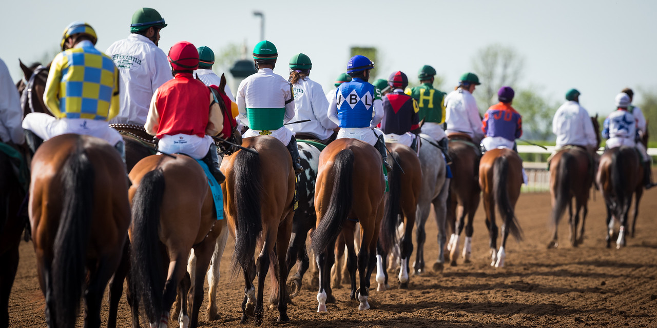 Horses go to post in the Elkhorn Stakes at Keeneland 4.18.15.