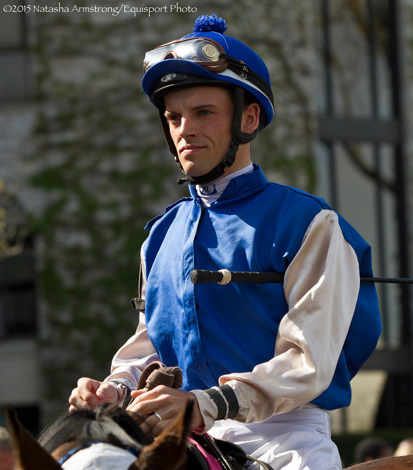 Jockey Richard Oliver aboard Ginger Box heading to the track for the 8th race.