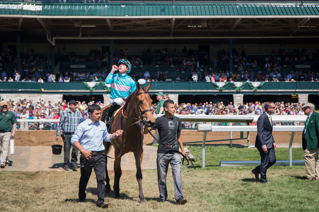 Lady Eli (Divine Park) wins the Appalachian (G3) at Keeneland on 4.12.2015. Irad Ortiz, Jr. up, Chad Brown trainer, Sheep Pond Partners owners.