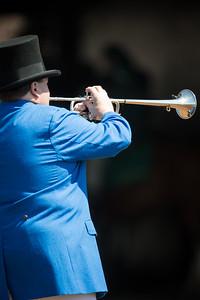 Keeneland buglar goes blue on Bluegrass Stakes day.