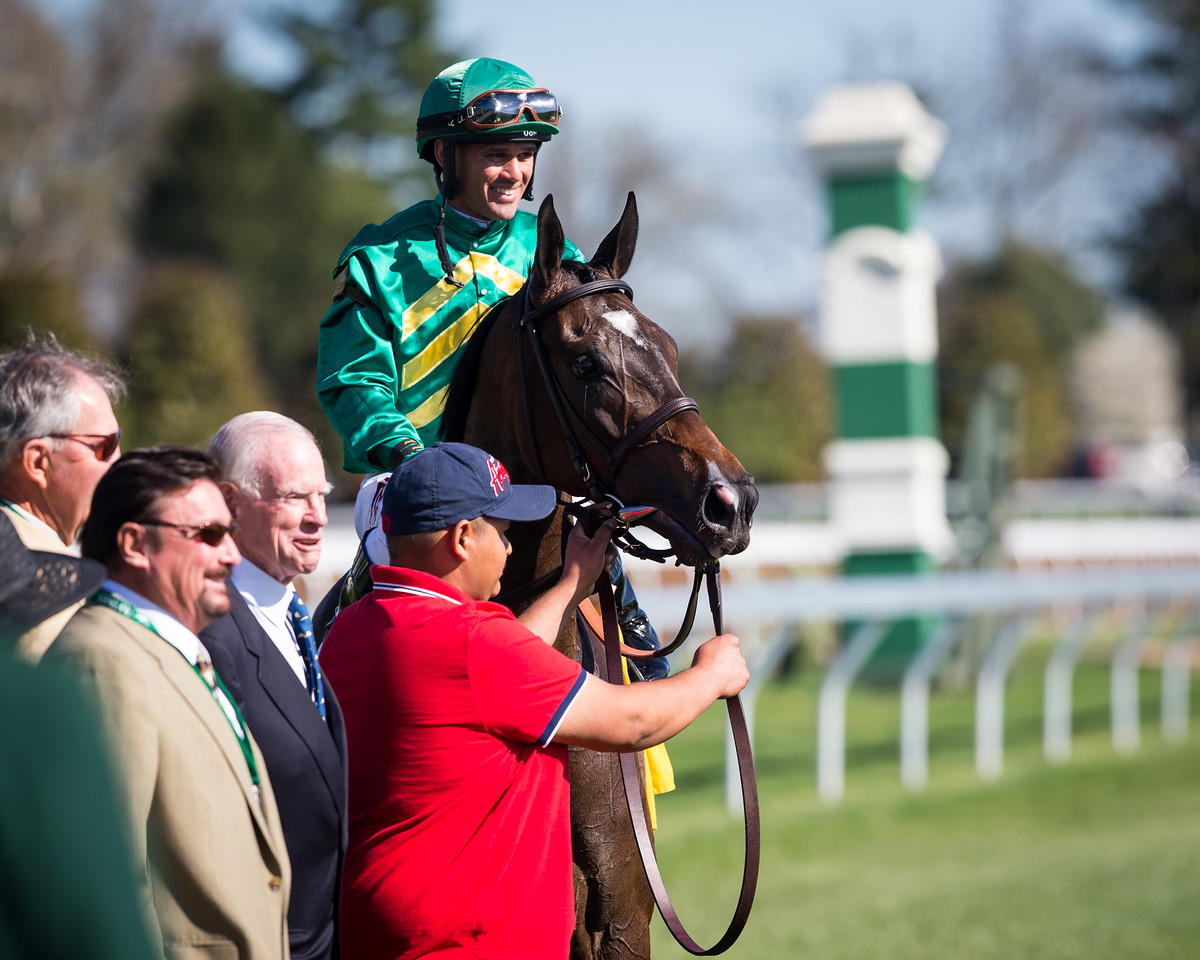 Ball Dancing (Exchange Rate), Javier Castellano up, wins the G1 Jenny Wiley at Keeneland 4.11.15. Trainer: Chad Brown, Owner: Farish and Mooney.