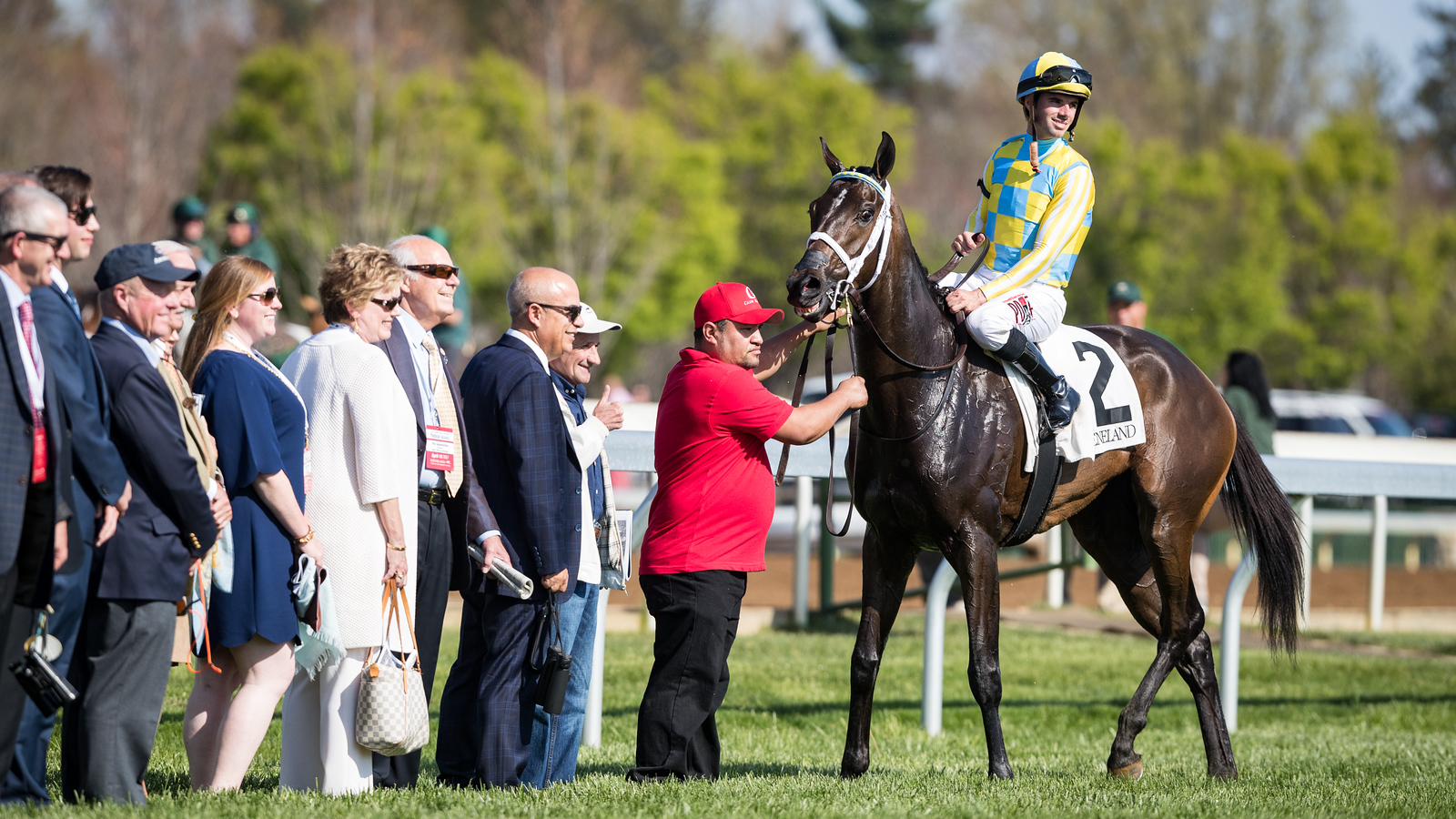 La Coronel (Colonel John) wins the Appalachian at Keeneland on 4.13.2017. Florent Geroux up, Mark Casse trainer, John Oxley owner.