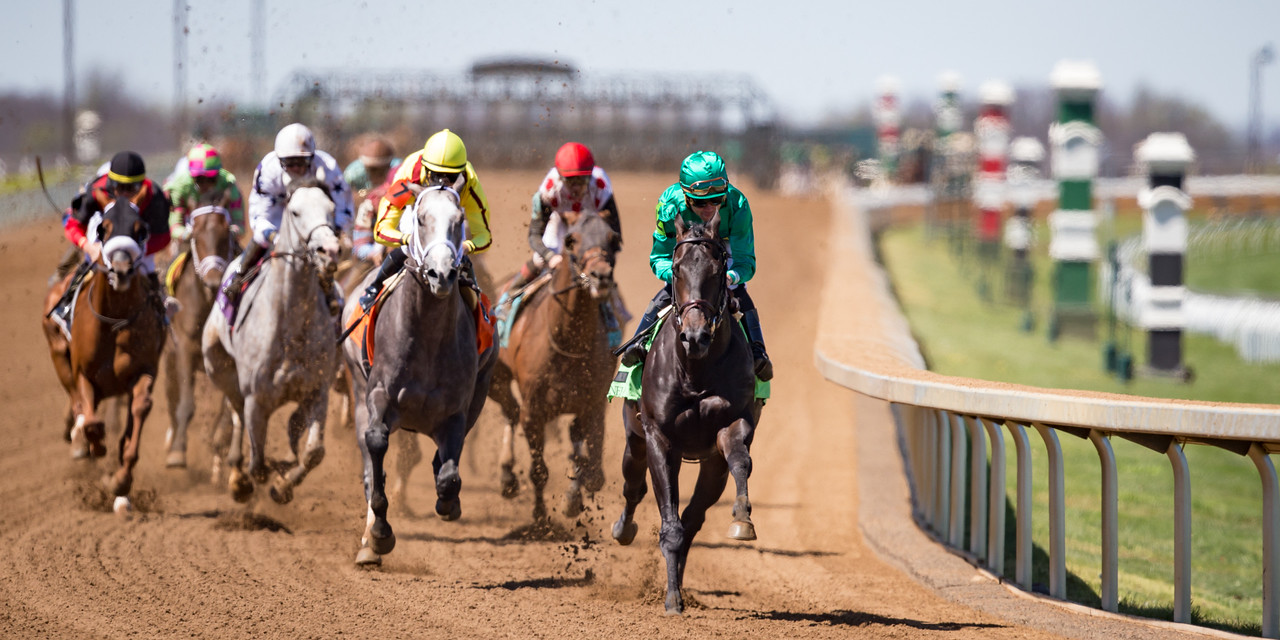 The horses coming out of the backstretch and into the turn in the 4th race at Keeneland on 4.8.2017.