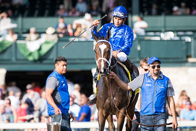 Dickinson (Medaglia d'Oro) wins The Jenny Wiley (G1) at Keeneland on 4.15.2017, Paco Lopez up, Kiaran McLaughlin trainer, Godolphin Racing owner.