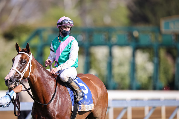 Bonny South (Munnings) wins the Doubledogdare Stakes at Keeneland on 4.16.21.  Florent Geroux up, Brad Cox trainer, Juddmonte Farm owner.