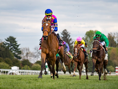 War Like Goddess (#8, English Channel) wins the Bewitched Stakes at Keeneland on 4.23.2021. Julien Leparoux up, Bill Mott trainer, George Krikorian owner.