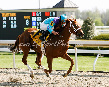 Tazarine (Cat Thief), Jamie Theriot up, wins an Allowance at Keeneland 4.25.2008 (EquiSport Photos)