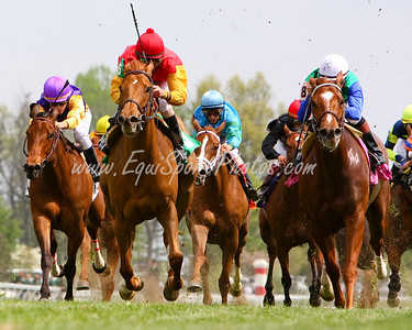 Paris Winds (Galileo) (#8, white cap), Kent Desormeaux up, wins an Allowance at Keeneland 4.24.2008 (EquiSport Photos)
