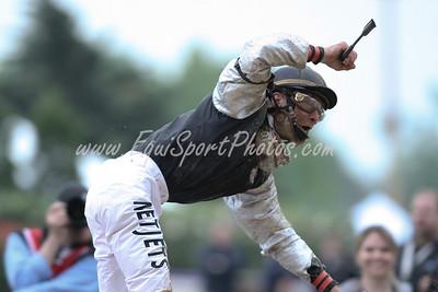 Calvin Borel celebrates after winning the KY Derby aboard Mine that Bird. 05.01.09.