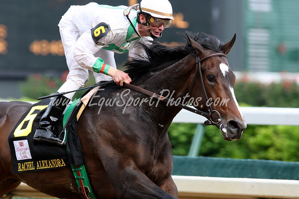 Rachel Alexandra overpowers field to win the Ky Oaks by 21 1/2 lengths.  With Calvin Borel up she took the lead at the top of the stretch and the rest was history.  Owned by  L and M Partners (Dolphus Morrison and Michael Lauffer).  She is trained by Hal Wiggins.