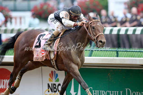 Mine that Bird (Birdstone) ridden by Calvin Borel and owned by Double Eagle Ranch and Trained by Bennie Woolley wins the 135th Running of the KY Derby.