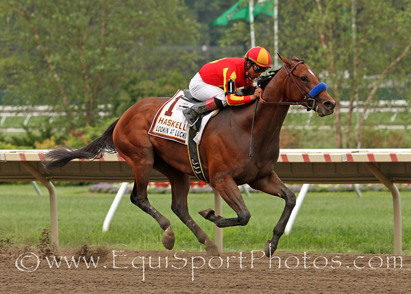 Lookin at Lucky (Smart Strike) and jockey Martin Garcia win the Haskell Invitational at Monmouth Park 8/1/10.