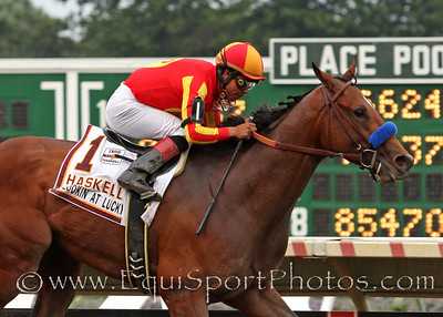 Lookin at Lucky (Smart Strike) and jockey Martin Garcia win the Haskell Invitational at Monmouth Park 8/1/10 JH.