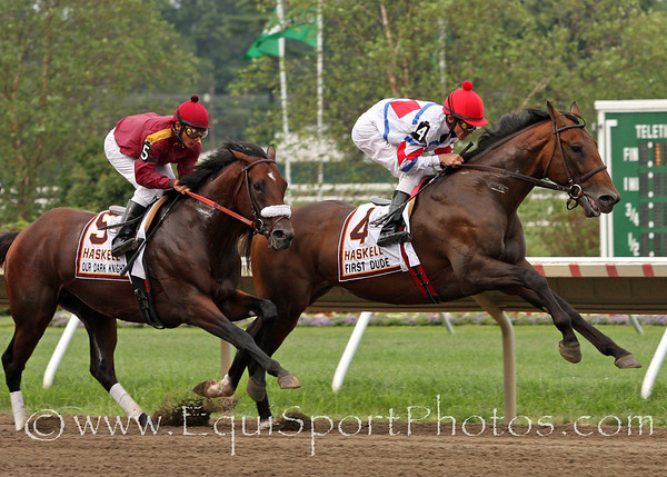 First Dude and Our Dark Knight lead the way the first time by in the Haskell Invitational at Monmouth Park 8/1/10.