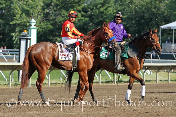 Coil (Point Given) and jockey Martin Garcia win the Gr. I Haskell Invitational at Monmouth Park 7/31/11. Bob Baffert trainer; Karl Watson, Mike Pegram, and Paul Weitman, owners.