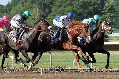 Joe Vann, Shackleford, and J J's Lucky Train lead first time by in the Gr. I Haskell Invitational at Monmouth Park 7/31/11 JH.