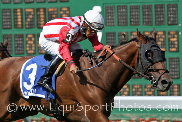 Yummy With Butter (Silvador) and jockey Paco Lopez win the Gr. III Oceanport Stakes at Monmouth Park 7/31/11. Yvon Belsoeur trainer; Bruno Schickedanz owner.