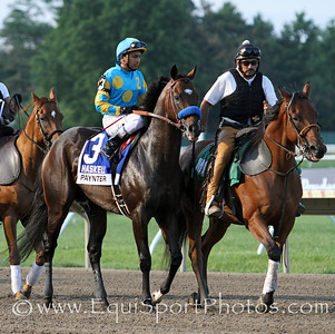 Paynter (Awesome Again) and jockey Rafael Bejarano before the Haskell Invitational (Gr I) at Monmouth Park 7/29/12. Trainer: Bob Baffert. Owner: Zayat Stables LLC