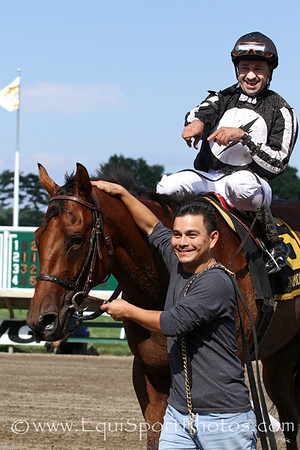 Royal Currier (Red Bullet) and jockey Joe Bravo win the Teddy Drone Stakes at Monmouth Park 7/29/12. Trainer: Patricia Farro. Owner: MAT Stables LLC