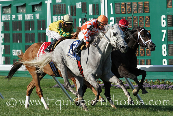 Tune Me In (Concorde's Tune) and jockey Paco Lopez win the Haskell Invitational (Gr I) at Monmouth Park 7/29/12. Trainer: Bruce Alexander. Owner: Patricia Generazio